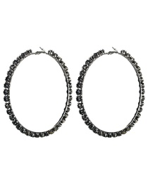 Fashion Number 8 Large Circle Outer Ring With Diamond Earrings