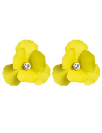 Fashion Yellow Alloy Spray Paint Flower Flower Earrings