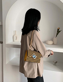 Yellow Lattice Chain Shoulder Messenger Bag