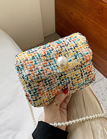 Yellow Woolen Pearl Chain Crossbody Bag