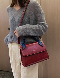 Red Wine Contrast Letter Lock Buckle Shoulder Bag