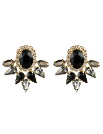 Fashion Black Multi-layer Drop-shaped Oval Acrylic Diamond Earrings