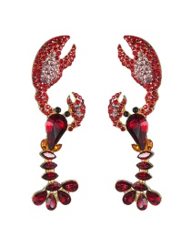 Fashion Red Acrylic Diamond Lobster Earrings