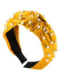 Fashion Yellow Cloth Knotted Pearl Headband