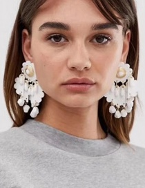 Fashion White Multi-layer Artificial Leather Floral Acrylic Tassel Earrings