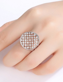 Fashion Platinum-t18h26 Openwork Copper Inlaid Zirconium Opening Adjustable Mesh Ring