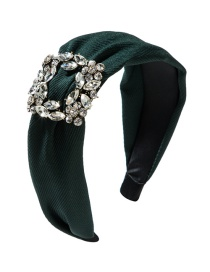 Fashion Green Wide-brimmed Square Alloy Diamond Headband