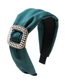 Fashion Green Fabric Square Alloy With Pearl And Diamond Headband