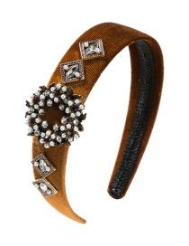 Fashion Yellow Flannel Multi-layer Square Alloy Diamond-like Imitation Pearl Flower Headband