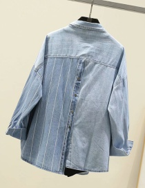 Fashion Light Color Lapel Thick Striped Double Pocket Irregular Stitching Denim Shirt
