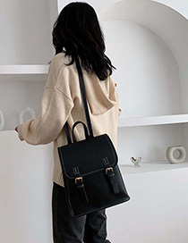 Pure Black Contrast Shoulder Bag