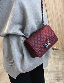 Red Wine Chain Rhombic Shoulder Messenger Bag
