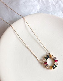 Fashion Gold Crystal Rainbow Necklace
