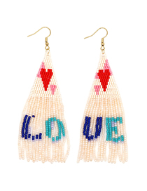 Fashion White Fringed Love Rice Beads Woven Earrings