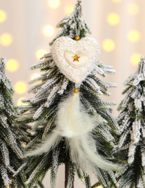 Fashion Golden Peach Heart Feather Pendant Christmas Tree Pendant
