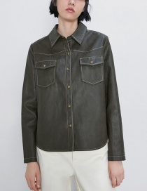Fashion Army Green Faux Leather Jacket