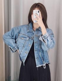 Fashion Blue Hot Diamonding Tassel Denim Short Coat