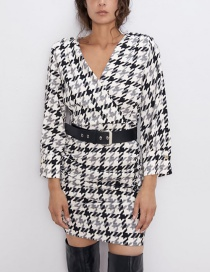 Fashion Lattice Belted Houndstooth Dress
