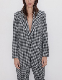 Fashion Lattice Plaid Blazer