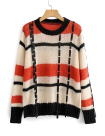 Fashion Red Plaid Round Neck Sweater