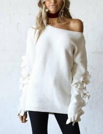 Fashion White Ruffled Sweater