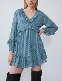 Fashion Blue Laminated Polka Dot Dress