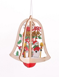 Fashion Three-dimensional Bell Snowman Pendant Wooden Hollow Christmas Pendant
