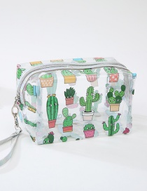 Fashion Cactus Cartoon Flamingo Transparent Wash Bag