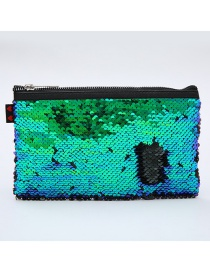 Fashion Green Sequined Square Mermaid Cosmetic Bag