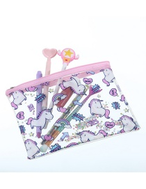 Fashion Multiple Unicorns Cartoon Pvc Glitter Powder Sequin Pencil Case