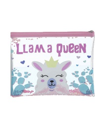 Fashion Alpaca Cartoon Pvc Glitter Powder Sequin Pencil Case
