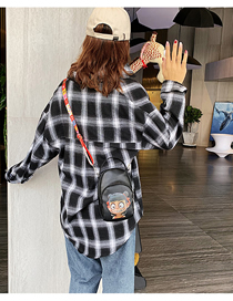Fashion Black Cartoon Print Which Is A Crossbody Shoulder Bag