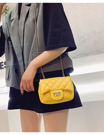 Fashion Yellow Chain Splicing Lock Messenger Bag