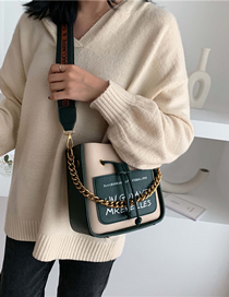 Fashion Dark Green Contrast Broadband Single Shoulder Messenger Bag