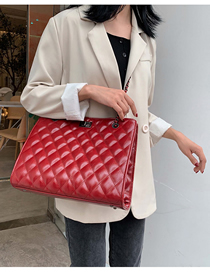 Fashion Red Chain Rhombic Shoulder Messenger Bag