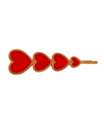 Fashion Red Drop Oil Love Hairpin