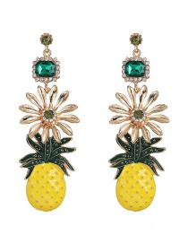 Fashion Gold Fruit Pineapple With Diamond Stud Earrings