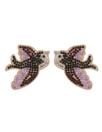 Fashion Purple Animal Swallow Stud Earrings