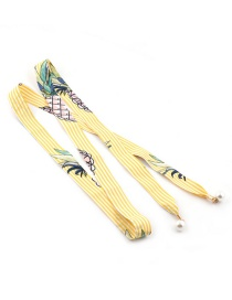 Fashion Striped Yellow Plus White Floral Scarf Knotted Pearl Chiffon Ribbon Silk Girdle