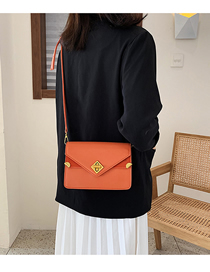 Fashion Orange Locked Crossbody Shoulder Bag