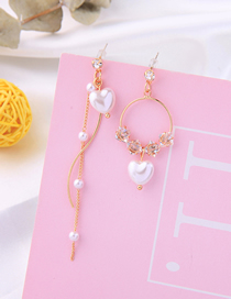 Fashion Love Geometric Love Asymmetric Pearl Earrings