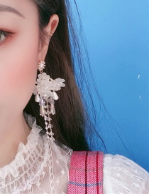 Fashion White Diamond Flower Tassel Earrings