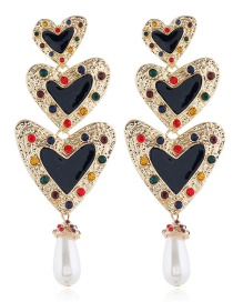 Fashion Black Drip Oil Love Diamond Earrings