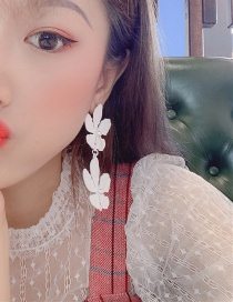 Fashion White Flower-studded Alloy Earrings