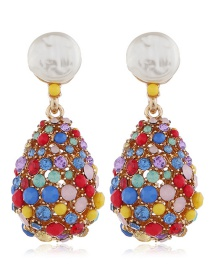Fashion Red Alloy Drop Diamond Earrings
