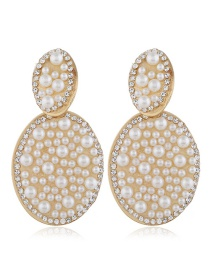 Fashion White Alloy Geometric Pearl Earrings