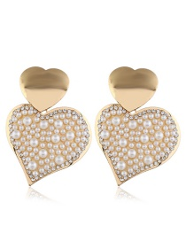 Fashion White Alloy Diamond Heart Pearl Earrings