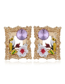 Fashion Purple Alloy Diamond Bird Square Earrings