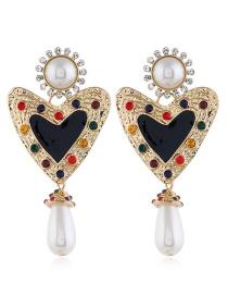 Fashion Black Alloy Diamond Heart Pearl Earrings