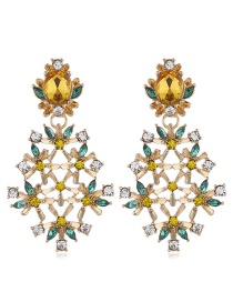 Fashion Yellow Alloy Gemstone Drill Flower Earrings